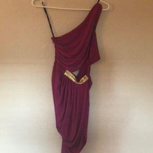 Purple one shoulder, slit dress